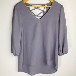 Living Doll Purple Blouse With Open Strappy-Back